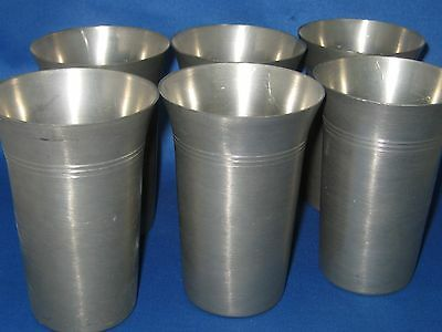 "4"" Tall Lot 4 Antique German Solid Heavy Pewter Cups Engraved Mark Nice"