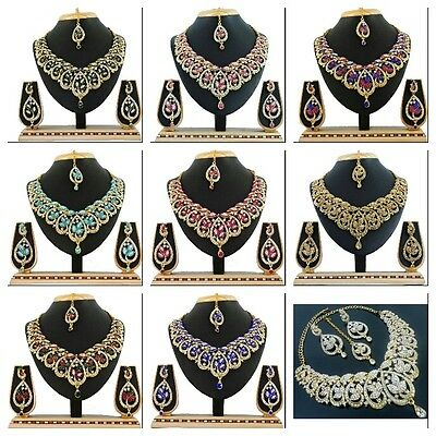 Indian Bollywood Fashion Wedding Gold Tone Bridal Necklace Earrings Jewelry Set