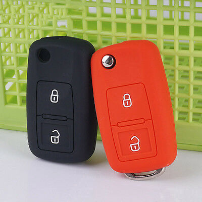 silicone key fob cover for VW Amarok Polo Golf MK4 Bora Jetta Flip Folding