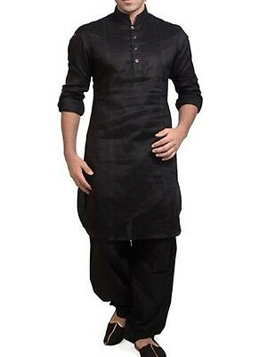 New Traditional Ethnic Men Pakistani Designer Indian Eid Black Silk Kurta Pajama