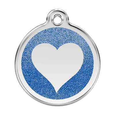 Heart Blue Glitter Pet Dog Cat ID Tag Personalised Engraved Steel Tags Dingo