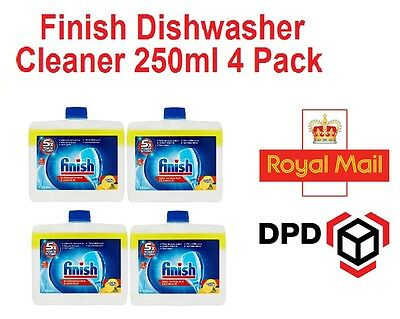 4 x Finish Dishwasher Cleaner 250ml 5X Power Actions Lemon Sparkle Cleaning