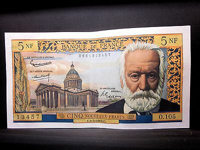 1963 France 5 Franc ✪ Victor Hugo ✪ P-141A Choice Au L@@k Almost Unc 5F◢Trusted◣