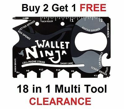 Wallet Ninja 18 In 1 Pocket Multi Tool Bottle Opener Card Holder Screw Driver...