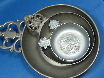 Lot 4 Antique German & Holland Embossed & Engraved Solid Pewter Ashtrays Nice