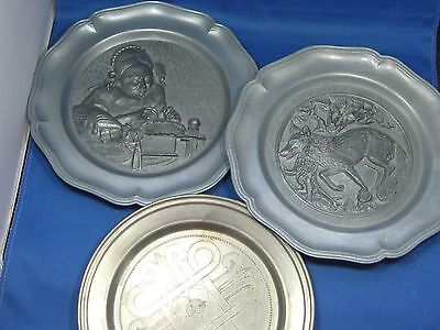 3 Antique German Embossed Pewter Deco Plates  Engraved Mark with Hanger /Fox