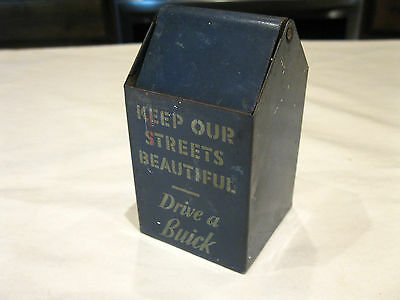 1940s Drive a Buick Tin Lithographed Toy Advertising Trash Can Vintage Condition