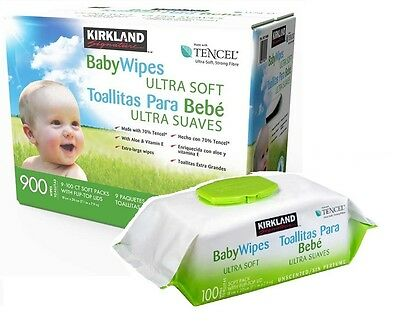 Kirkland Signature Tencel Ultra Soft Baby Wipes 900 Extra Large Wet Wipes NEW