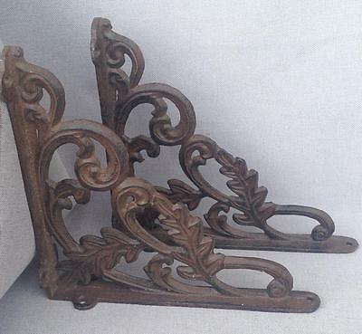 Pair of vintage french hooks shelf brackets cast iron heavy more 3lb
