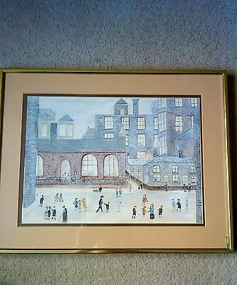 a water coloured painting in the style of Lowry good frame and condition.