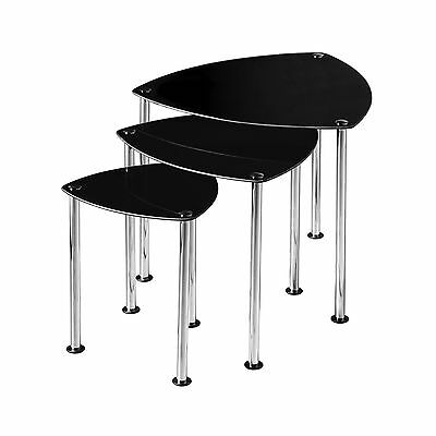 Premier Housewares Nest of 3 Tables with Black Glass Top and Chrome Legs 43 x...