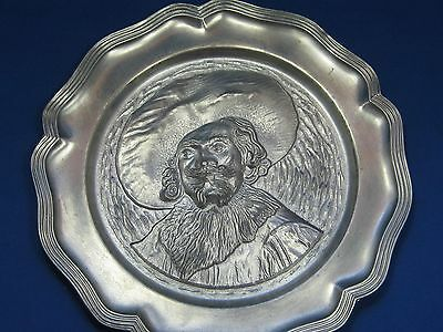 """9"""" Antique  German Embossed & Engraved Pewter Plate Engraved Mark with Hanger"""