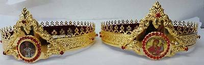 Orthodox Christian Byzantine Church pair wedding crowns Russian style marriage