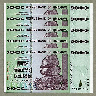 Zimbabwe 50 Trillion Dollars x 5 pcs AA 2008 P90 consecutive UNC currency bills