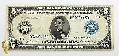 Series of 1914 $5 Federal Reserve Large Note Burke/Houston (Fine Condition)