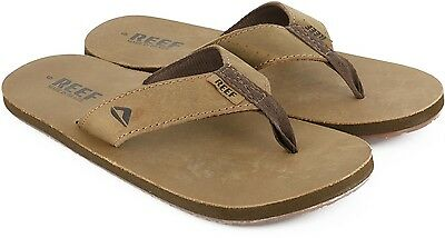NEW Reef Mens Leather Smoothy Bronze Brown Flip Flops - SIZE US 13