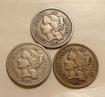 1873 (open-3 variety), 1874, 1881 Three Cent Nickels - Very Nice Looking Coins
