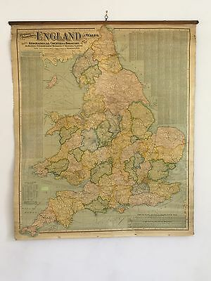 1902 England & Wales Huge Hanging Wall Map Linen Backed With Wooden Roller
