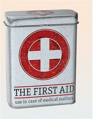 Vintage Tin Box First Aid Case Cigarette Protector Storage Plasters / band aid