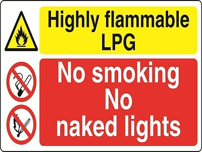 HIGHLY FLAMMABLE LPG NO SMOK - health and safety warning Sign - MULTI017 sticker