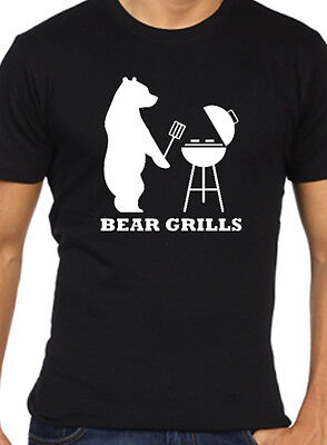 BEAR GRILLS T SHIRT BBQ BARBECUE TV PROGRAM GIFT HIPSTER SWAG FUNNY  UNISEX TOP