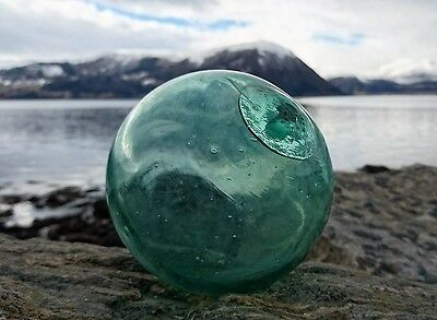 Uncommon rare dotted Hook marked Norwegian Glass Fishing Float Ball 4.5""