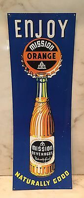 "Mission Beverages Orange Soda Pop Bottle 25""  X 9"" Metal Sign"