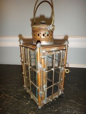 Antique Copper Ships Lantern Kerosene Oil Lamp Cages Glass 19thC New England