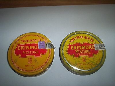 2 of 4oz Erinmore Mixture Ireland Pipe Tobacco Tins Murray Sons &Co Belfast Cans