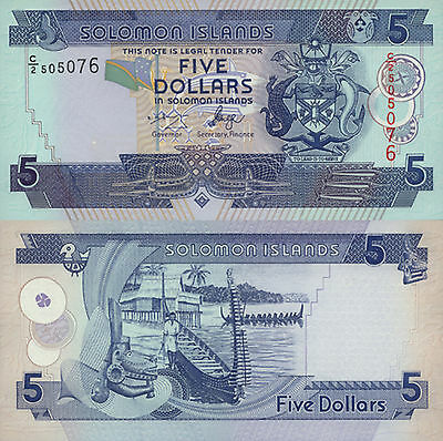 Solomon Islands 5 Dollars (2004) - Carving/Boats/p26 C2 Prefix UNC