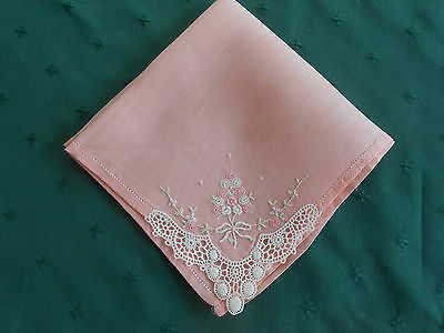 Pink Linen Hankie With Lace And Flowers Embroidered In One Corner, C1940
