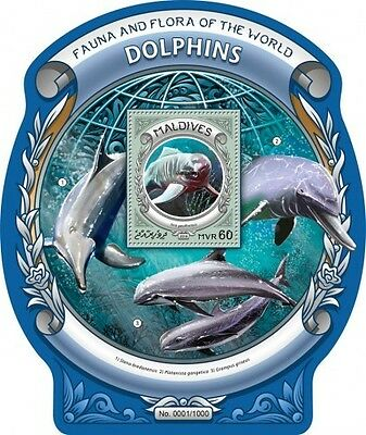 Z08 IMPERFORATED MLD16302b MALDIVES 2016 Dolphins MNH