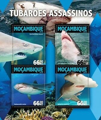 Z08 IMPERFORATED MOZ16118a MOZAMBIQUE 2016 Killer sharks MNH