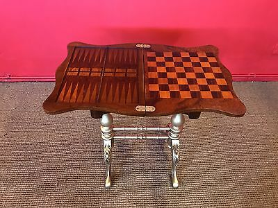 Beautiful Victorian Style Gold & Burr Walnut Henry Vii Games/chess Table