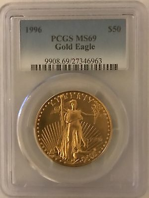 1996 Gold Eagle $50 Pcgs Ms69 Low Pop In Ms70 Only 15 Coins