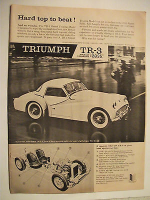 1959 Triumph Tr-3 Hard Top To Beat! Usa Magazine Fullpage Advertisement