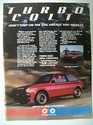 1984 Mitsubishi Turbo Colt Usa Magazine Fullpage Colour Advertisement
