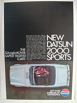 Datsun 1969 2000 Sports Magazine Fullpage Colour Advertisement