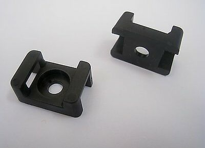 50 Pieces Pack 22mm Cable Tie Mount Base Saddle Wire Holder Screw-in Lot Black