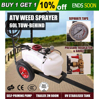 60L ATV Garden Weed Spot Sprayer Tank Trailer Spray Cart Trolley With Boom