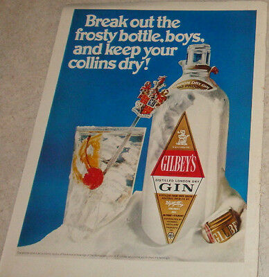 """Gilbey's Gin Break out the Frosty Bottle boys 1969 magazine ad 10"""" x 13"""""""