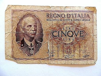 1939 Italy Five (5) Lire World War II Note