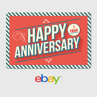 eBay Digital Gift Card - Happy 1 Year Anniversary  -  Email delivery