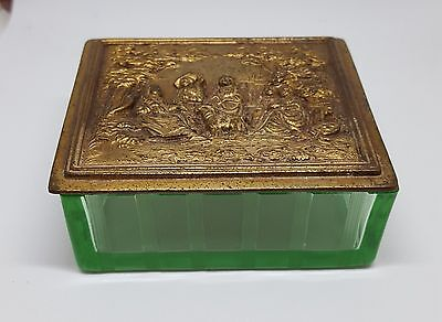 Antique Jennings Brothers Vaseline Glass Dresser Box Embossed Figural Brass Top