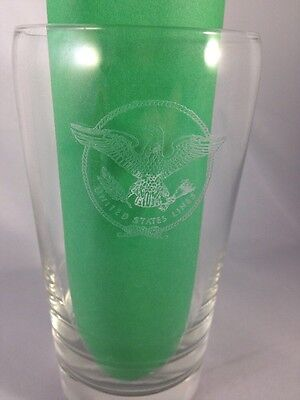 UNITED STATES LINES Vintage Highball Glass Etched Eagle Emblem