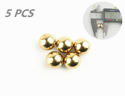 LIEOMO 1/2Inch Precision Solid brass Bearing Balls 5Pcs