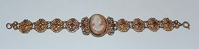 Vintage Hand Carved Shell Cameo Rhinestone Bracelet ~ as is