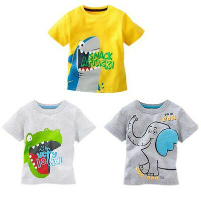 Catroon Animal Toddler Kids Baby Boys Cotton Short Sleeve Tops Casual T-shirt