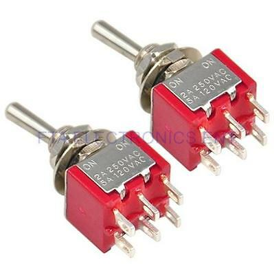 2 Pcs Red Double Pole Double Throw Toggle On-Off Switch 6 Pins Changeover Auto