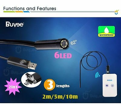 Wireless Wifi Endoscope Borescope Inspection 6LED Camera For Android iPhone iOS